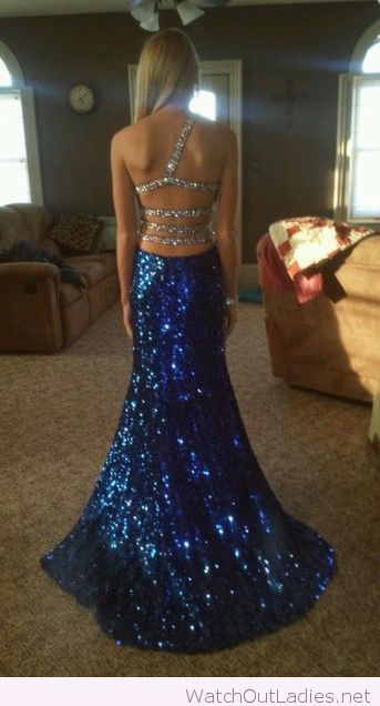Long blue and silver glitter dress