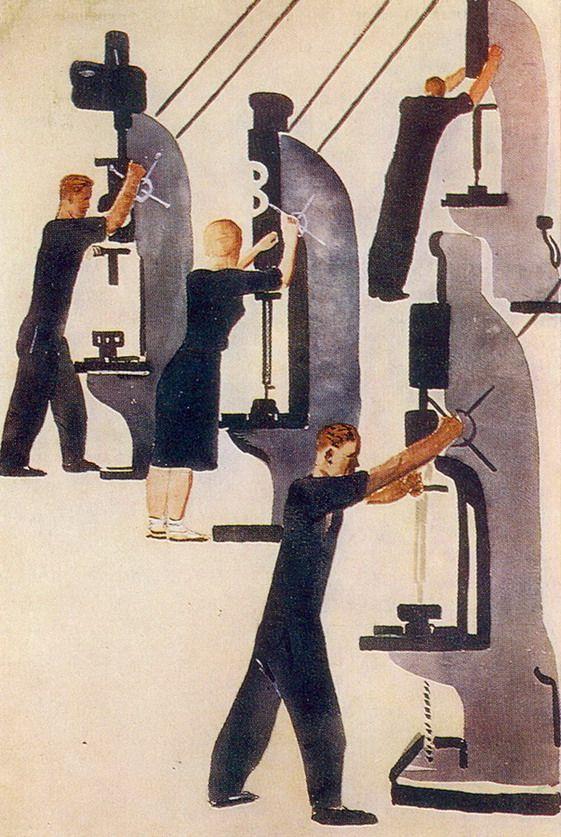 "Alexander Deineka - At the Machine Press (Illustration for ""Projector""), 1931"