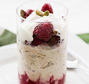 Raspberry and yoghurt bircher muesli