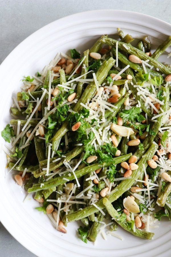 Roasted Green Beans with Lemon, Pine Nuts and Parmigiano recipe from RecipeGirl.com