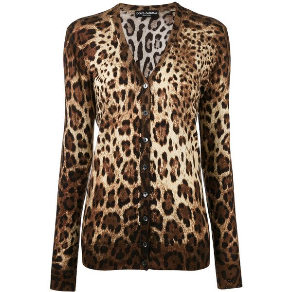Dolce & Gabbana leopard print cardigan (€785) ❤ liked on Polyvore featuring tops, cardigans, brown, v-neck tops, v-neck cardigan, animal print tops, fitted cardigan and print cardigan
