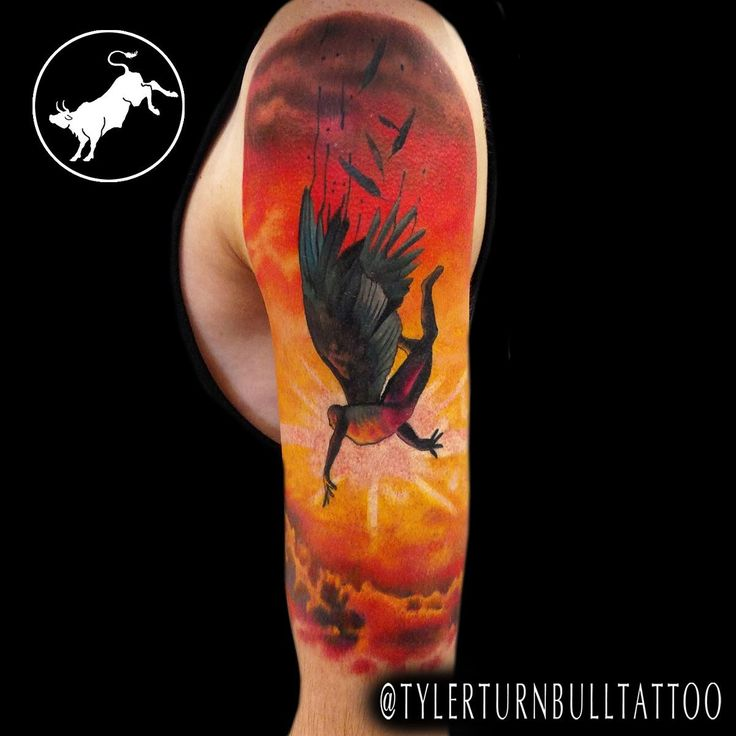 Amazing Icarus tattoo!!!  Artist: Tyler Turnbull  Location: Artistic Impressions  Katy, TX