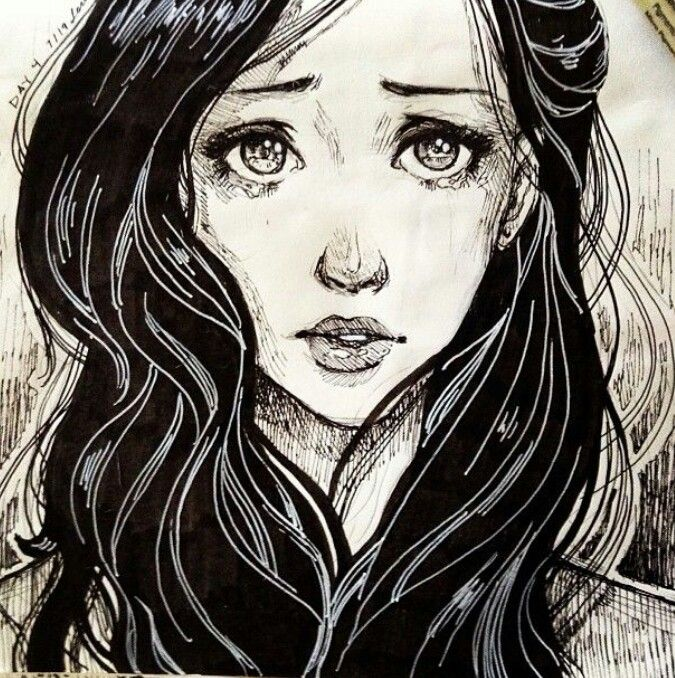 Drawing of Crying girl. | My favourite pictures. | Pinterest ...