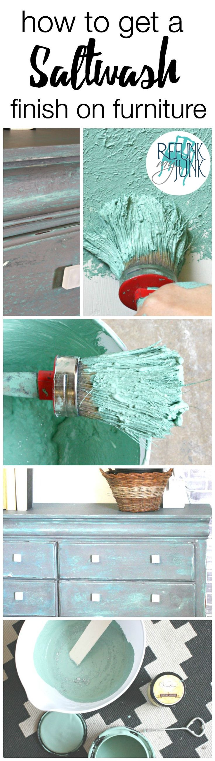 Salt Wash Finish on Furniture - Refunk My Junk - DIY Furniture Finish Tutorial  - How to Paint Furniture with a coastal look