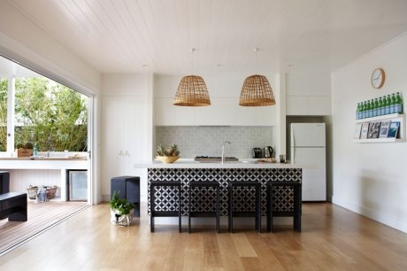 Graphic kitchen and woven pendant lamps at the Byron Bay Atlantic