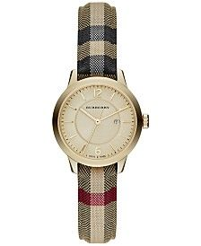 Burberry Women's Swiss Honey Check Fabric Strap Watch 32mm BU10104