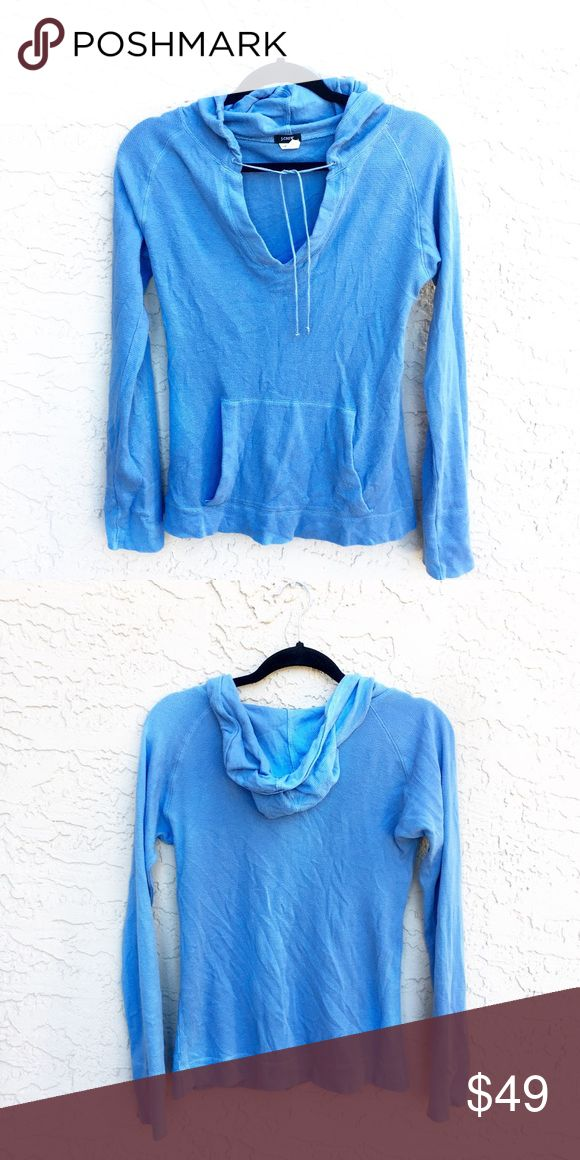 J. Crew blue thermal hoodie Cute and comfortable thermal pull over hoodie by J. Crew. J. Crew Tops Tees - Long Sleeve