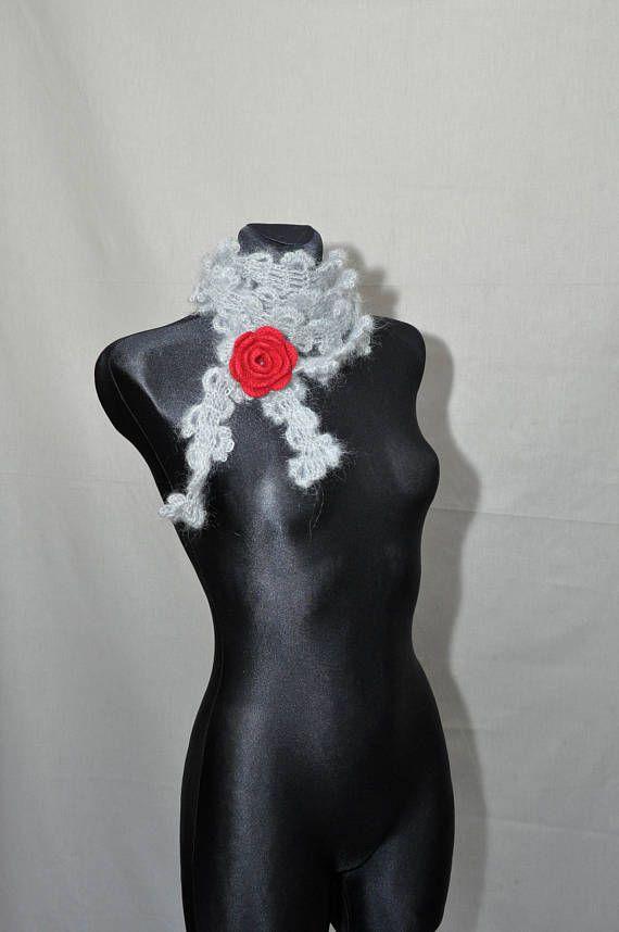 Crochet Scarf with Felt Flower Brooch Crochet Grey Scarf