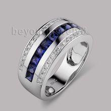 Sólido Blanco 14Kt Gold Men Band Natural Azul Zafiro Anillos de Compromiso de Diamantes SR0009A(China (Mainland))