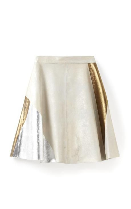 Fashion Month Must: a metallic mini Block Foiled Skirt by Phillip Lim for Preorder on Moda Operandi