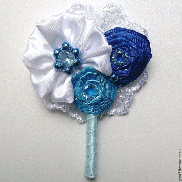 Купить Бутоньерка синяя - синий, дублер, брошь-букет, бутоньерка, бутоньерка для жениха, бутоньерка свадебная
