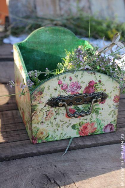 короб цветочный - зелёный,цветы,цветочный,короб для хранения,короб,короб для кухни