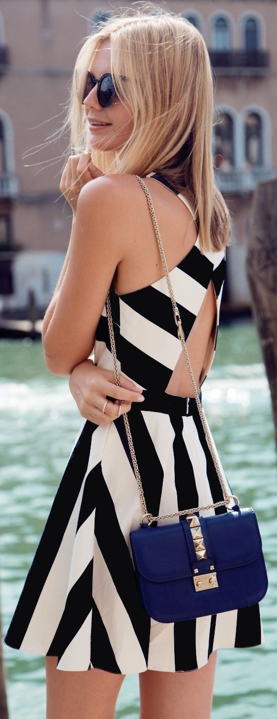 Spring dream to beam, shop a OASAP Design Black&White Stripe Print Cross-Back Dress with amazing prices.