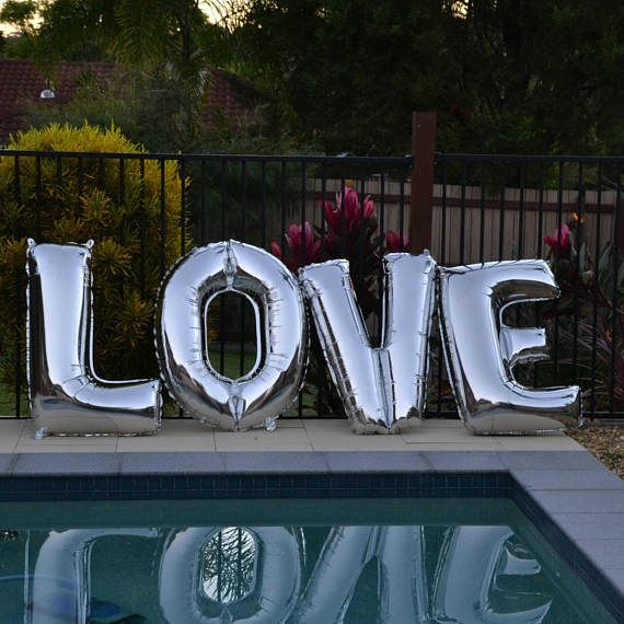 Silver LOVE Foil letter Balloons  16/32/40