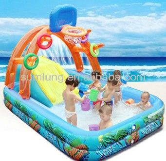 Source basketball inflatable pool swimming with slide children paddling pool slide send electric pump + water gun on m.alibaba.com