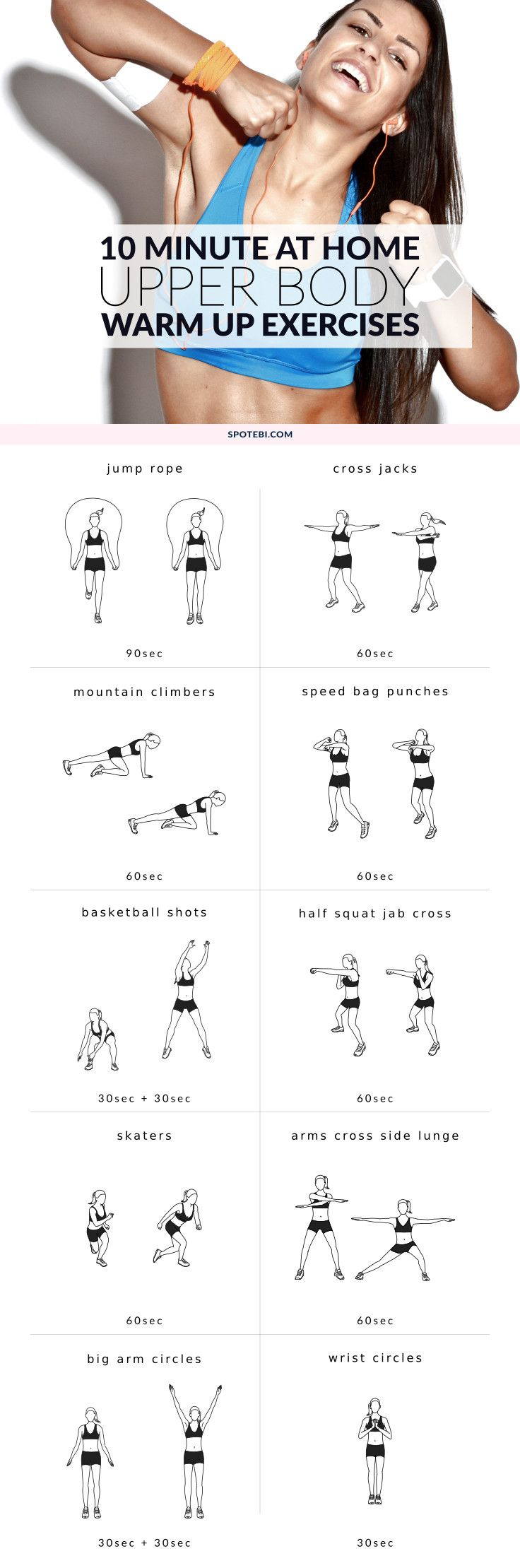 Need a quick warm up to jump start your workout routine? Try this set of upper body warm up exercises to boost your metabolism, improve your flexibility and prevent injuries. http://www.spotebi.com/workout-routines/upper-body-warm-up-exercises-women/