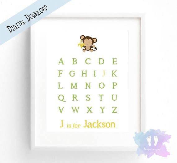 Monkey Alphabet Name Wall Art  Nursery Wall Art  Digital PDF