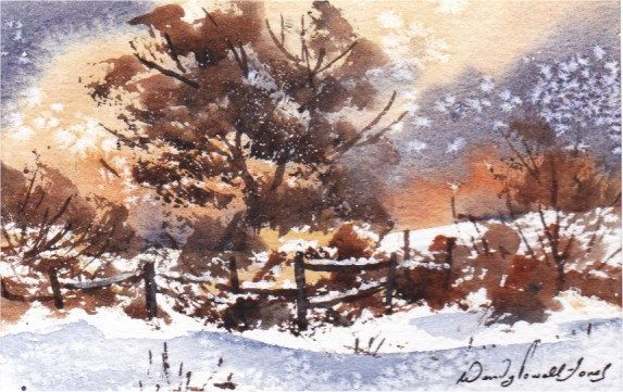 Hand Painted Card - Winter scene Dinefwr Park by WendyPowellJonesArt on Etsy