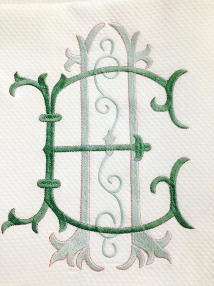 """MATOUK Diamond Pique coverlet, 12"""" monogram @bestmonogram.com"""