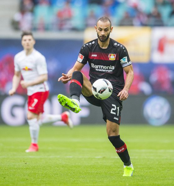 Leverkusen's Turkish defender Omer Toprak plays the ball during the German first division Bundesliga football match between RB Leipzig and Bayer 04 Leverkusen in Leipzig, eastern Germany, on April 8, 2017.  / AFP PHOTO / ROBERT MICHAEL / RESTRICTIONS: DURING MATCH TIME: DFL RULES TO LIMIT THE ONLINE USAGE TO 15 PICTURES PER MATCH AND FORBID IMAGE SEQUENCES TO SIMULATE VIDEO. == RESTRICTED TO EDITORIAL USE == FOR FURTHER QUERIES PLEASE CONTACT DFL DIRECTLY AT + 49 69 650050.