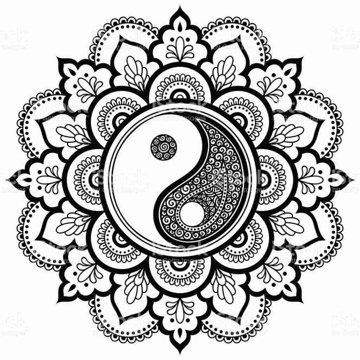yin yang coloring sheet pages mandala