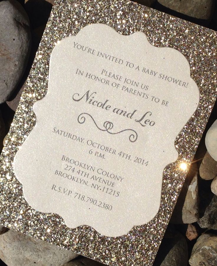 baby shower invitation wording for bringing diapers%0A Baby Shower Invitation     Glitter Baby Shower Invitations  Baby  Announcement  Gold  Silver