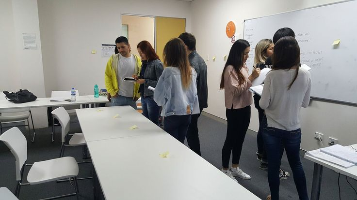 Dilly encourages her Upper-intermediate students to learn as much vocabulary as they can to be used both for speaking and writing activities. These pictures show the students doing vocabulary revision: together they revise pronunciation and meaning of new words and they have to use them in their conversations.  #ELICOS #course #Australia