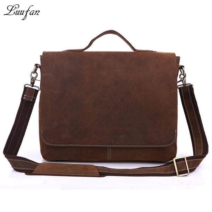 <b>Men's Crazy horse</b> leather briefcase fit Laptop vintage genuine ...
