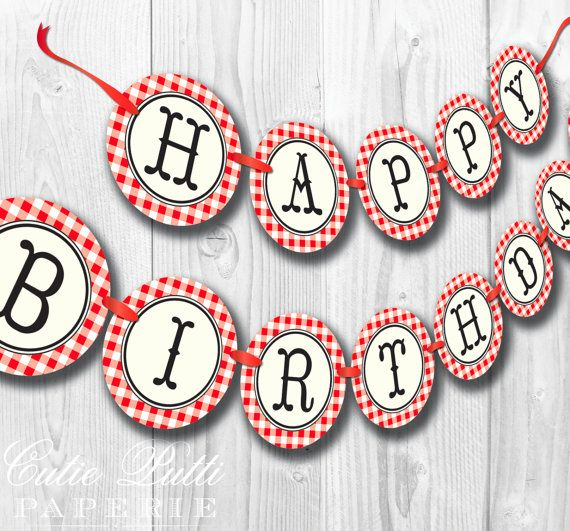 County Fair Party, State Fair Party, Country Fair Party - PRINTABLE BIRTHDAY BANNER - Cutie Putti Paperie. $7.50, via Etsy.