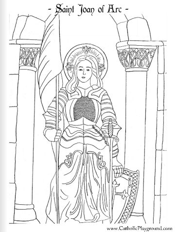 Saint Joan of Arc Catholic coloring page. Feast May 30th