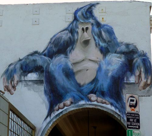 Huge Blue Gorilla Painted Arch Mural - Painting by Isabelle Alford-Lago
