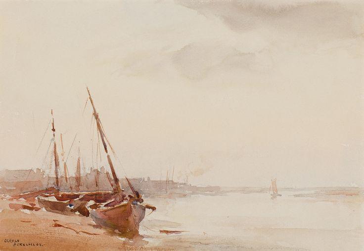 ackermann-88542.jpg (800×554)ACKERMANN Gerald (1876-1960) Essex: 'Low tide, Maldon'. Watercolour. Signed. 7x10 inches.