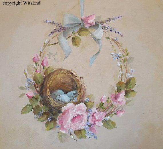 Nest wreath painting original ooak roses and robin bird eggs