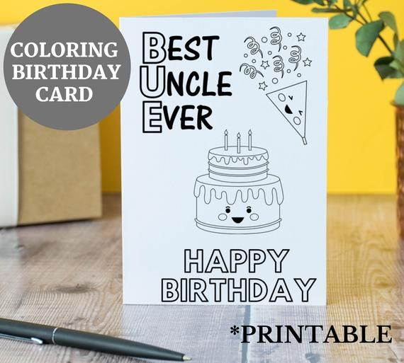 Birthday Card For Uncle Best Uncle Ever Birthday Card Uncle Birthday Card Gift For Uncle Uncle Birthday Card Coloring Birthday Card In 2021 Happy Birthday Cards Printable Cool Birthday Cards Coloring