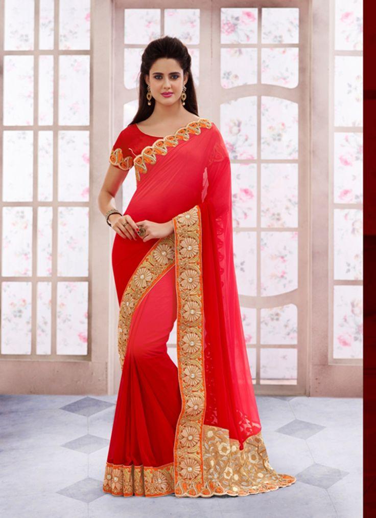 Red Wholesale Designer Saree Supplier From Surat