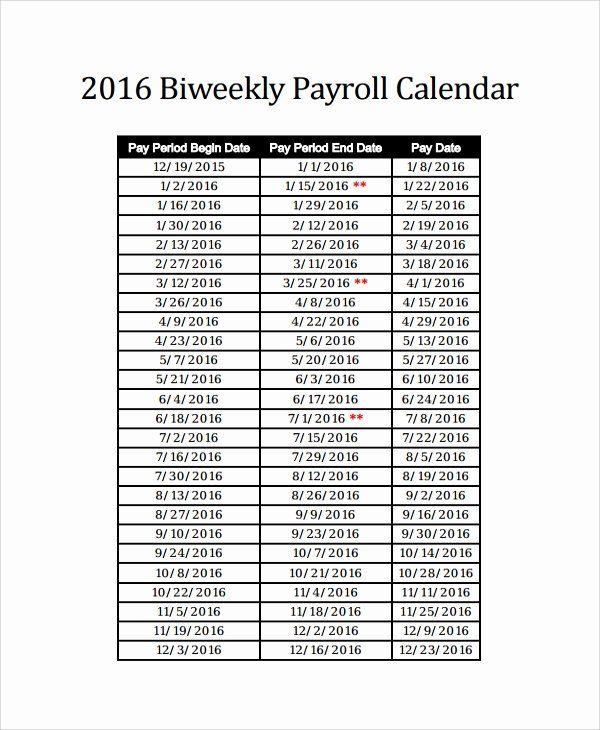 40 Biweekly Pay Schedule Template In 2020 Payroll Calendar