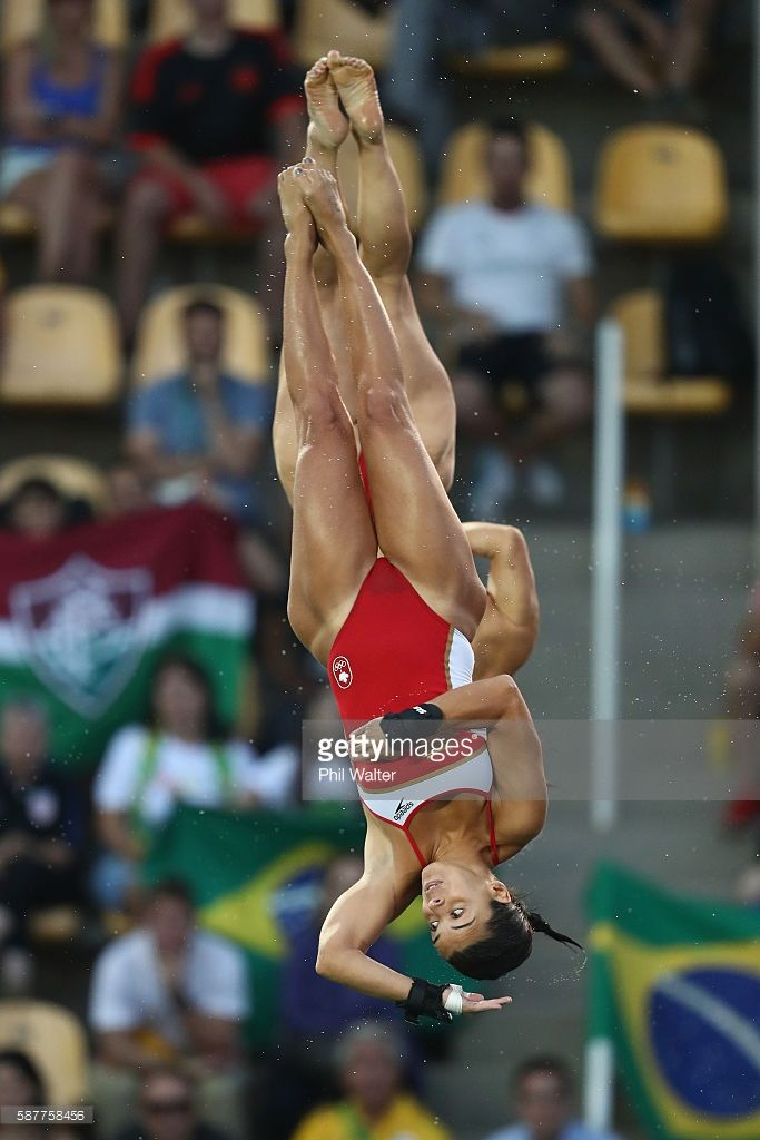 Meaghan Benfeito and Roseline Filion of Canada compete in the Women's Diving Synchronised 10m Platform Final on Day 4 of the Rio 2016 Olympic Games at Maria Lenk Aquatics Centre on August 9, 2016 in Rio de Janeiro, Brazil.