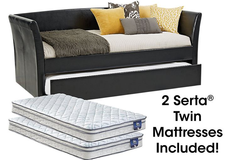 Brianne Black Daybed with Trundle and 2 Mattresses.599.0. Daybed: 84L x 36W x 42H, Mattress: 6.25H. Find affordable Beds for your home that will complement the rest of your furniture. #iSofa #roomstogo