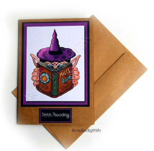 Handmade Greeting Card- Shhh! Witch is Reading - Hand Drawn -Greeting Card