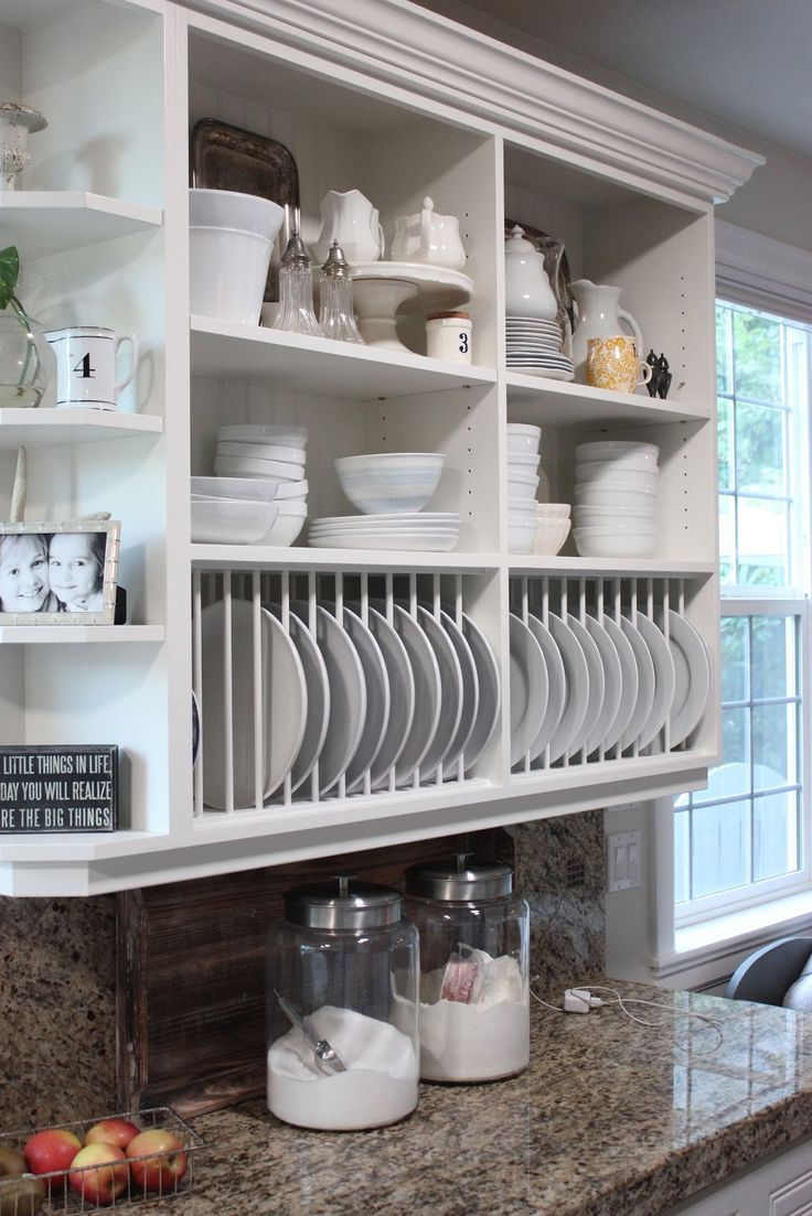 open kitchen cabinets is also a great alternative to standard upper-cabinets that is perfect to become a plate rack - Shelterness