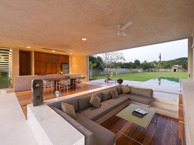 Sunken Living Room with Neutral Furniture - Decoist