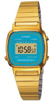 Casio LA670WGA 2 Women's Metal Band Vintage Gold Tone Blue Digital Watch | eBay   Happy birthday to me? Haha