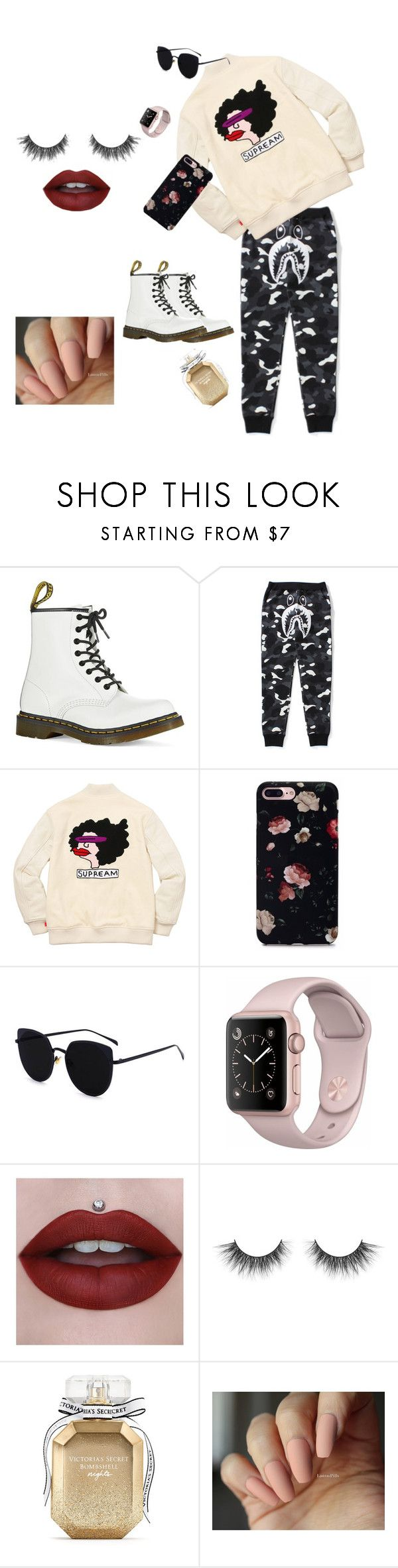 """Supreme + Bape"" by trungls ❤ liked on Polyvore featuring Dr. Martens, A BATHING APE, Akira and Victoria's Secret"