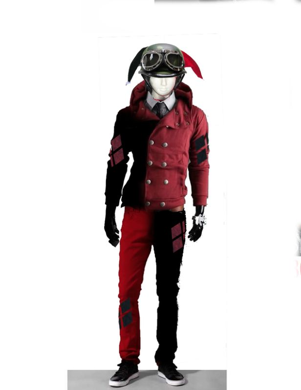 This is my urban male Harley Quinn (or should I say, Harvey Quinn? lolol) costume concept . I basically have to spray paint my red pants and jacket half black.Anyone got ideas on washable black paint? I'm thinking of getting myself some jean material and sowing them on as the diamonds on the legs and arms, maybe even going as far as to iron on some of my favorite bands on each patch. and as for the helmet, that's gonna be the hardest part. But I feel that it'll be worth ...