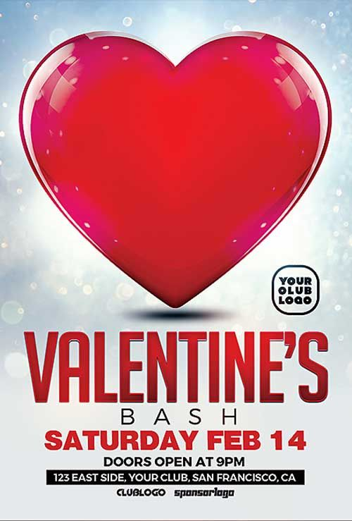 Valentine's Bash Free PSD Flyer Template - http://freepsdflyer.com/valentines-bash-free-psd-flyer-template/ Enjoy downloading the Valentine's Bash Free PSD Flyer Template created by Majkol!   #Dance, #Electro, #Heart, #Ladies, #Love, #Nightclub, #Singles, #ValentinesDay