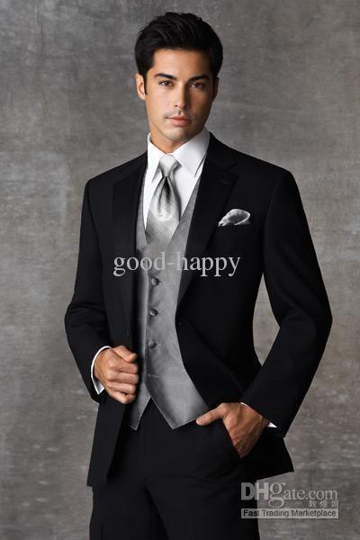 Tux And Tails New Stylish Black Groom Tuxedos Men'S Wedding Dress ...