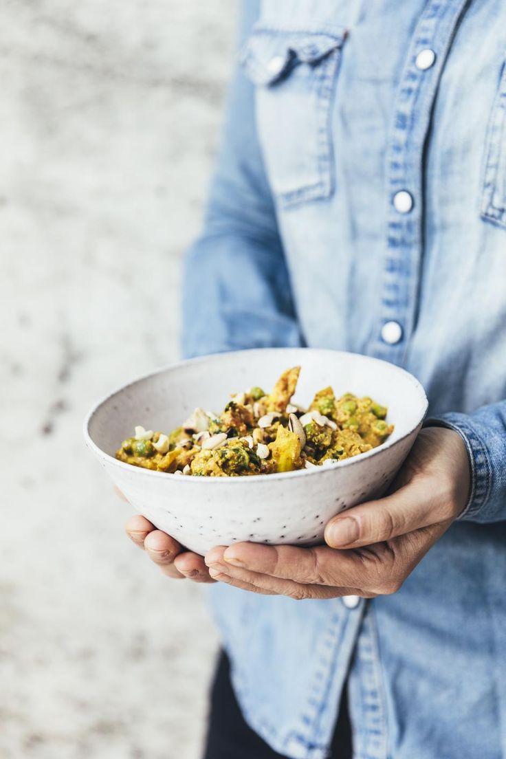 Bagt blomkål. Blomkål er en fyldig spise, og man får fornemmelsen af, at der er kød i retten, som bliver så cremet, at man kan spise den med gaffel. Den er normalt et hit.