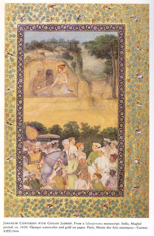 Jahangir Converses with Gosain Jadrup. From a Jahangir-nama manuscript, Opaque…