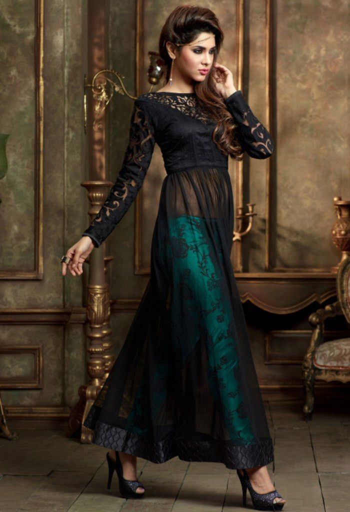 Black Designer Net Salwar Kameez 34895