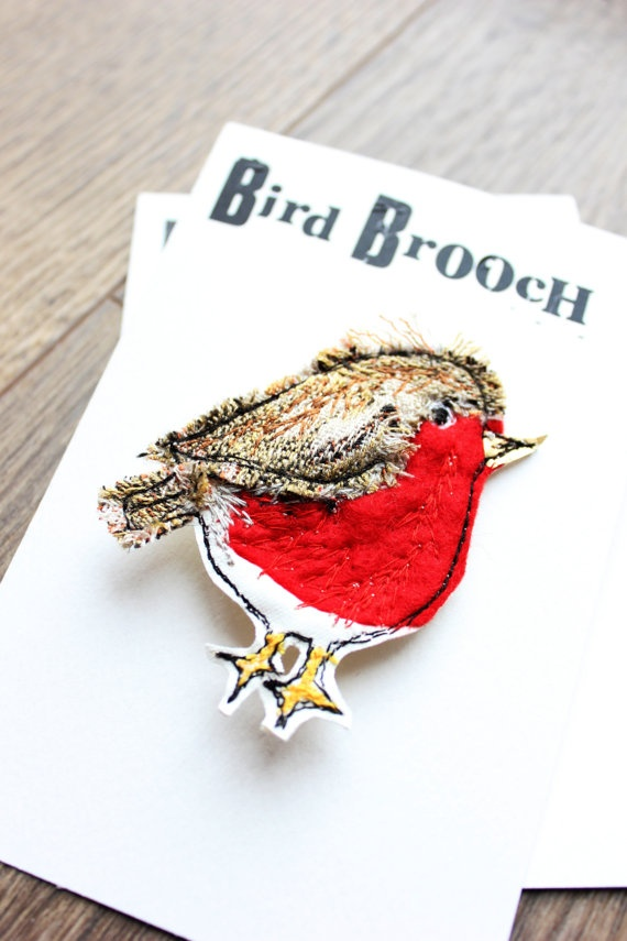 robin brooch by lotusblossomcards on Etsy,
